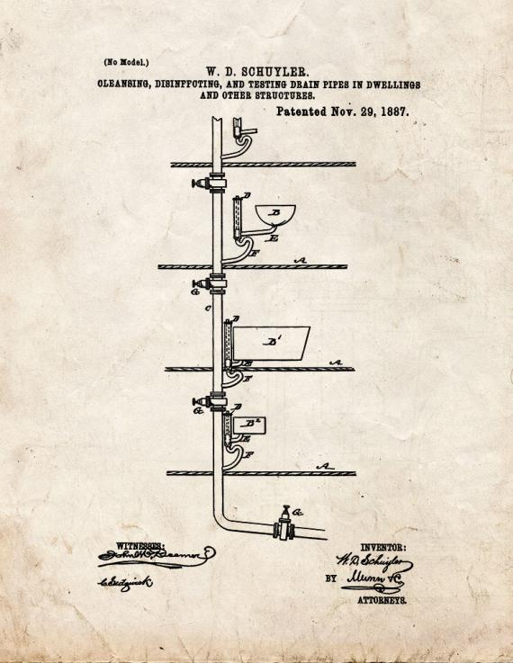 Cleansing, Disinfecting And Testing Drain-Pipes In Dwellings And Other Structures Patent Print