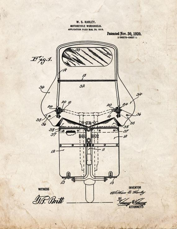 Harley Motorcycle Windshield Patent Print
