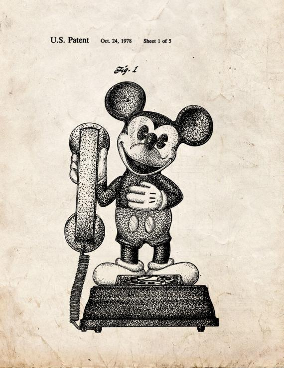 Mickey Mouse Telephone Patent Print