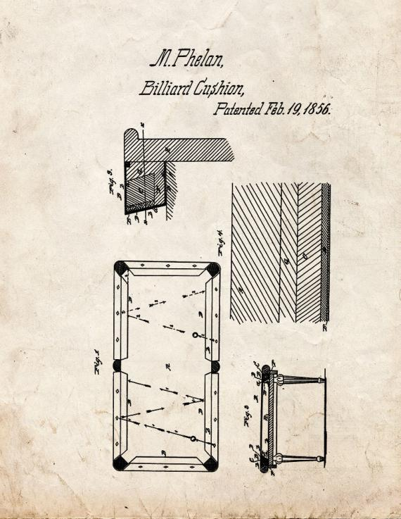 Billiard Cushion Patent Print