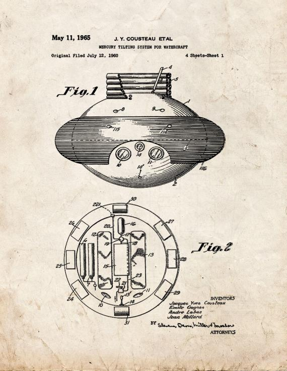 Jacques Cousteau Mercury Tilting System For Watercraft Patent Print