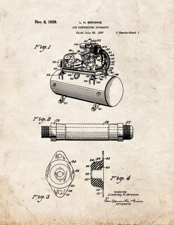 Air Compressing Apparatus Patent Print