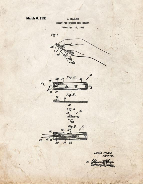 Bobby Pin Opener and Holder Patent Print