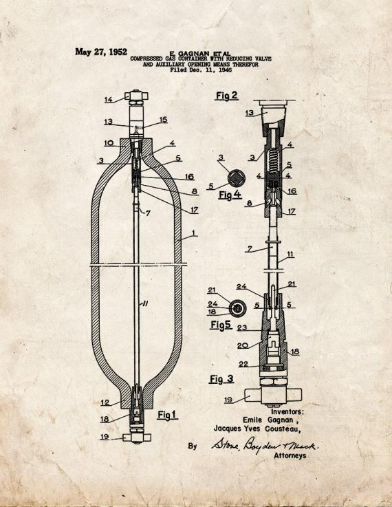 Compressed Gas Container With Reducing Valve Patent Print