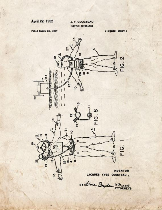Jacques Cousteau Diving Apparatus Patent Print