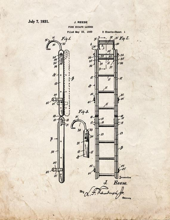 Fire Escape Ladder Patent Print