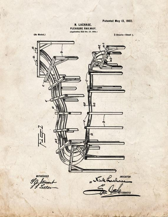 Amusement Ride Patent Print