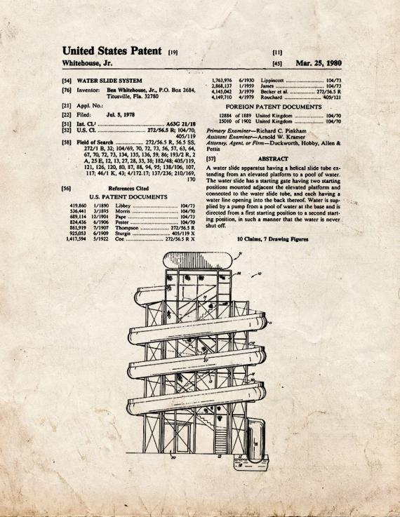 Water Slide Patent Print