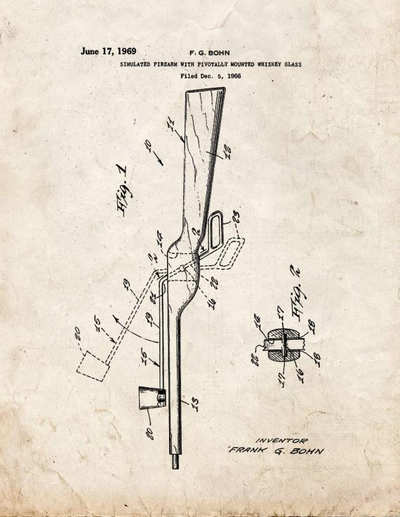 Simulated Firearm With Pivotally Mounted Whiskey Glass Patent Print