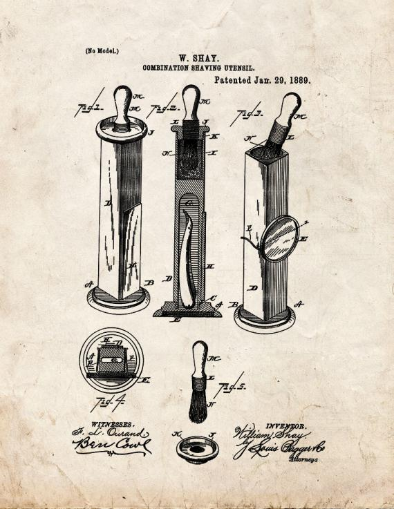 Combination Shaving Utensil Patent Print