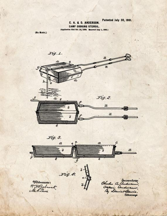 Camp Cooking Utensil Patent Print