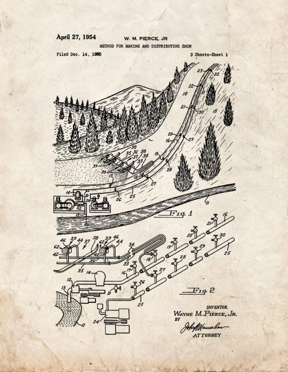 Artificial Snow Maker Patent Print