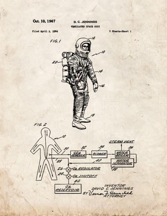 Ventilated Space Suit Patent Print