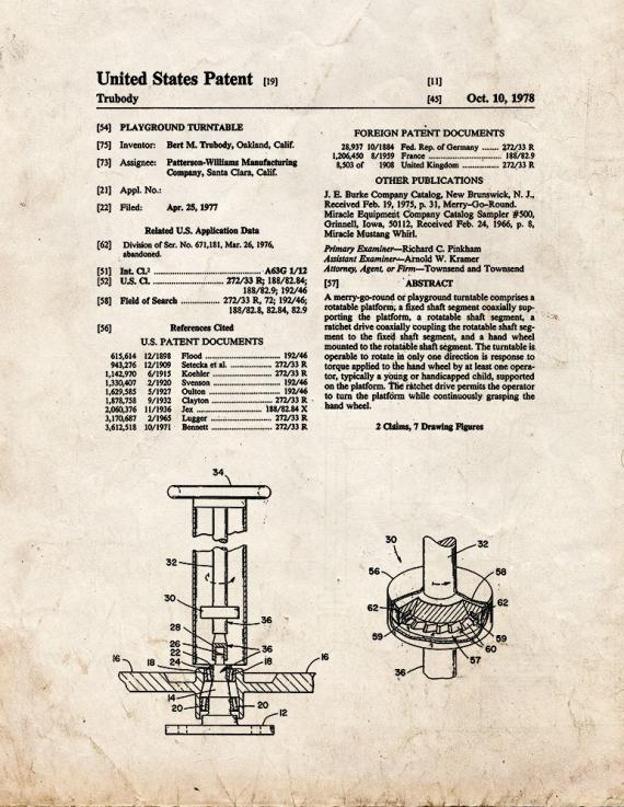 Playground Turntable Patent Print