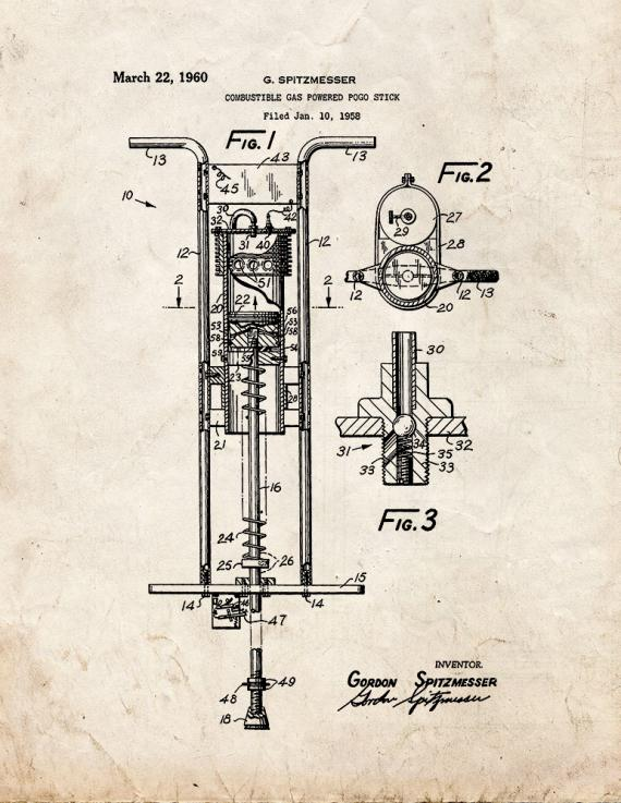 Combustible Gas Powered Pogo Stick Patent Print