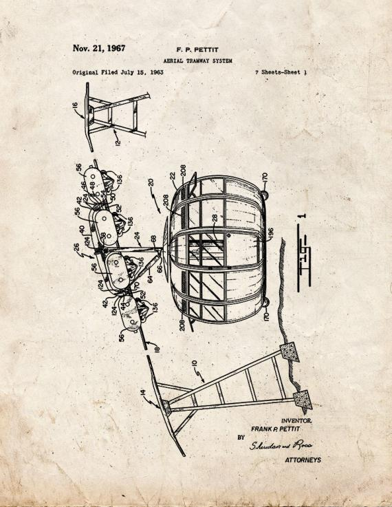 Aerial Tramway System Patent Print