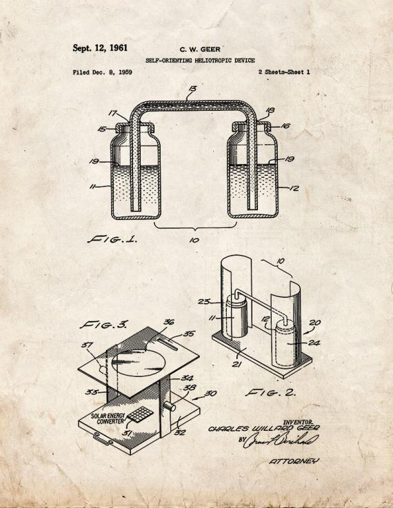 Self-orienting Heliotropic Device Patent Print