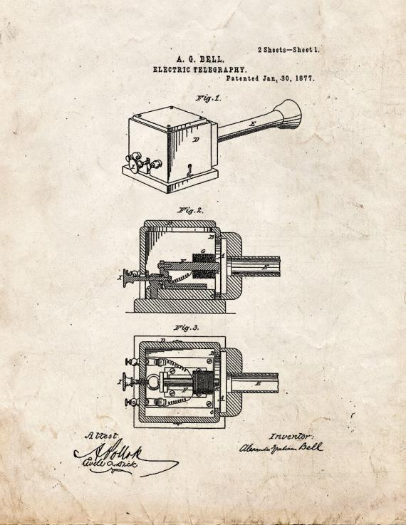 Improvement In Electric Telegraphy Patent Print