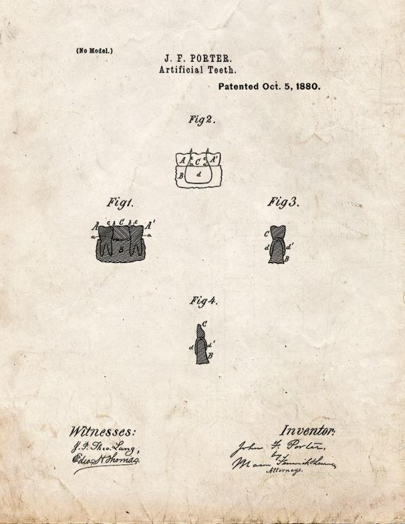 Artificial Teeth Patent Print