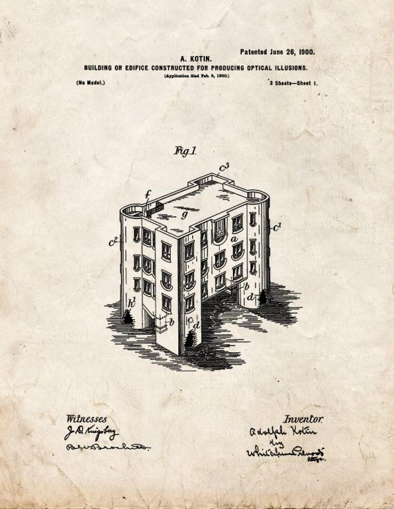 Building or Edifice Constructed for Producing Optical Illusions Patent Print