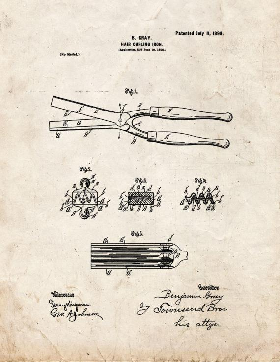 Hair Curling Iron Patent Print