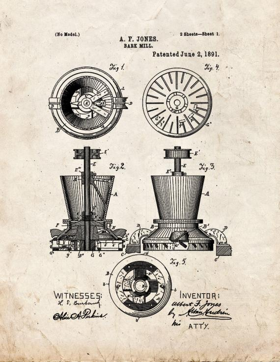 Bark Mill Patent Print
