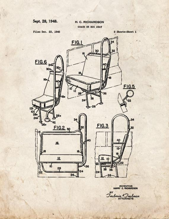 Coach or Bus Seat Patent Print