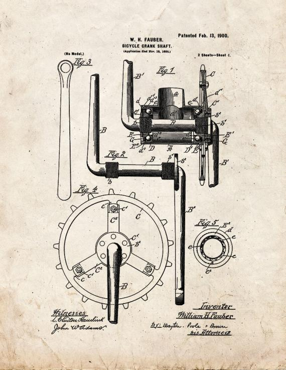 Bicycle Crank-shaft Patent Print