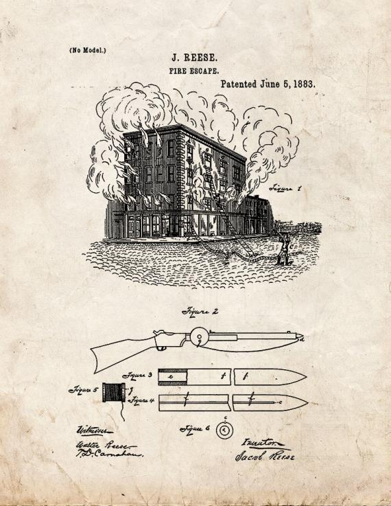 Fire Escape Patent Print