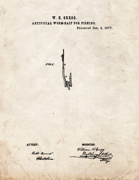 Artificial Worm-Bait For Fishing Patent Print