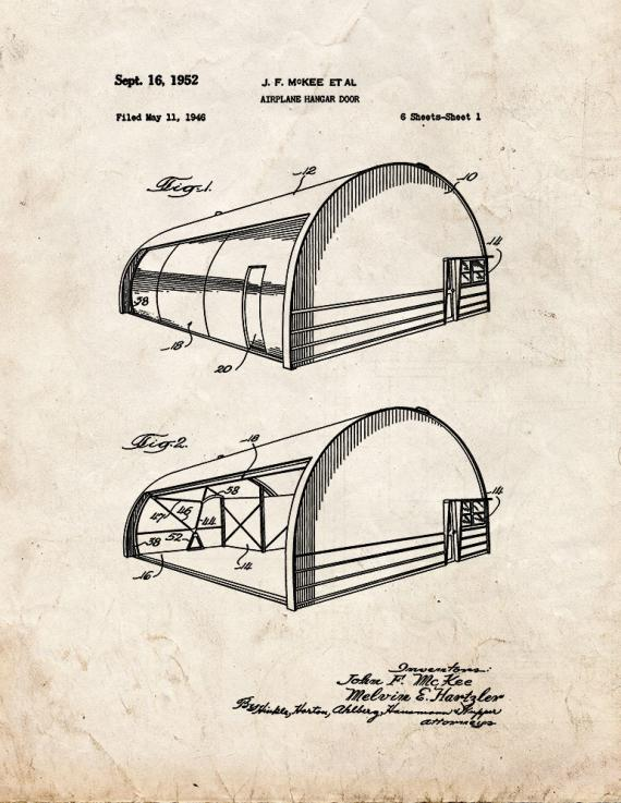 Airplane Hangar Door Patent Print