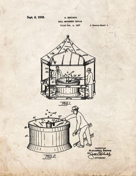 Ball Amusement Device Patent Print