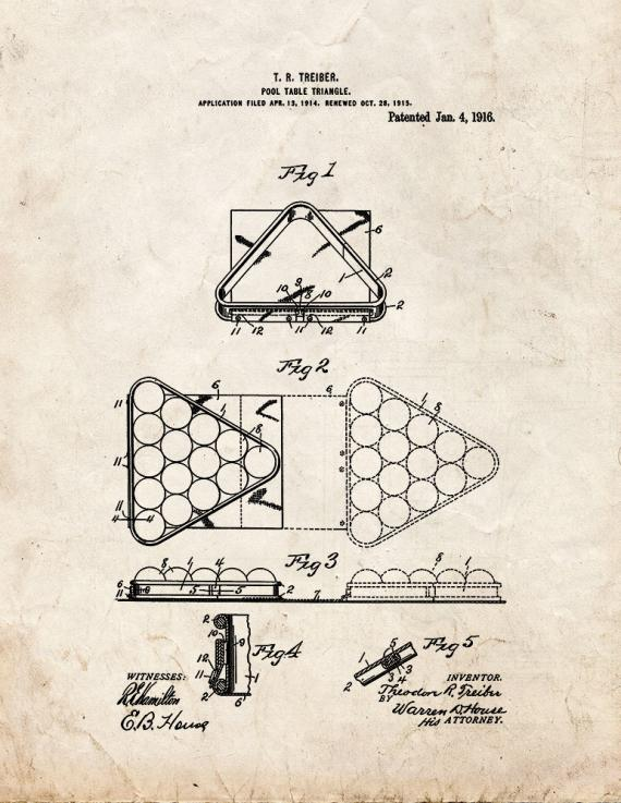 Pool-table Triangle Patent Print