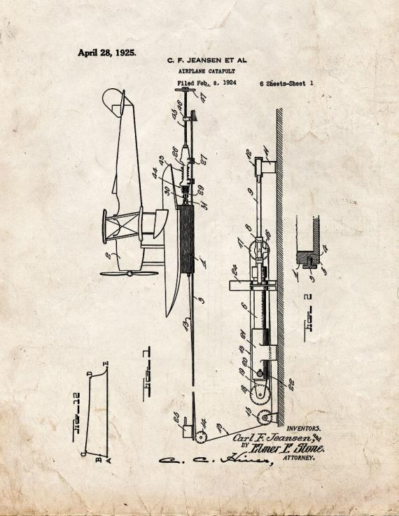 Airplane Catapult Patent Print