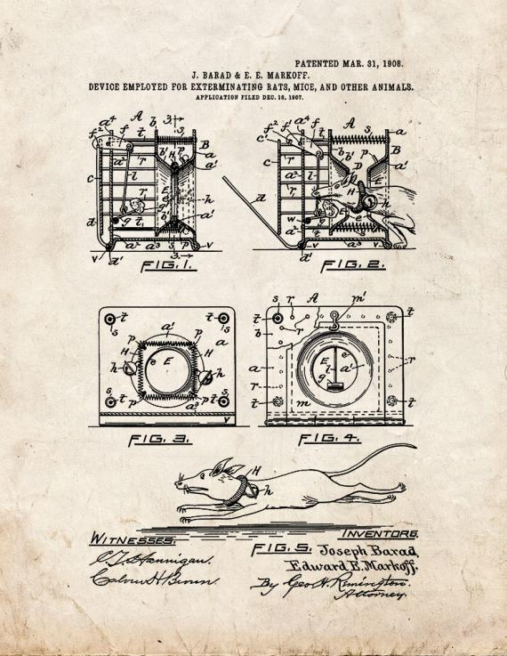 Device Employed for Exterminating Rats, Mice, and Other Animals Patent Print