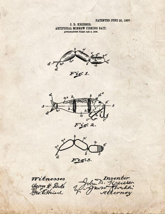 Artificial-minnow Fishing-bait Patent Print
