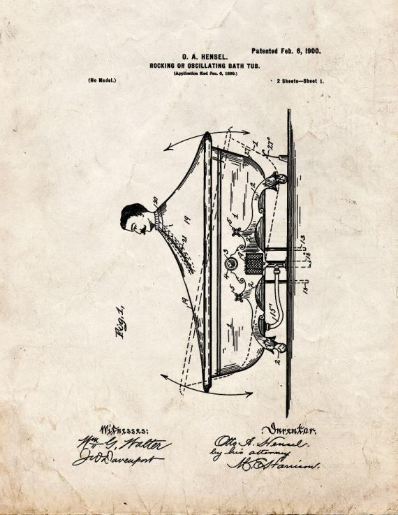 Rocking or Oscillating Bath-tub Patent Print