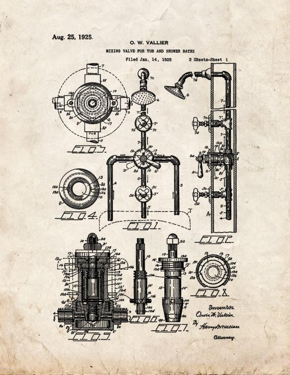 Mixing Valve for Tub and Shower Baths Patent Print