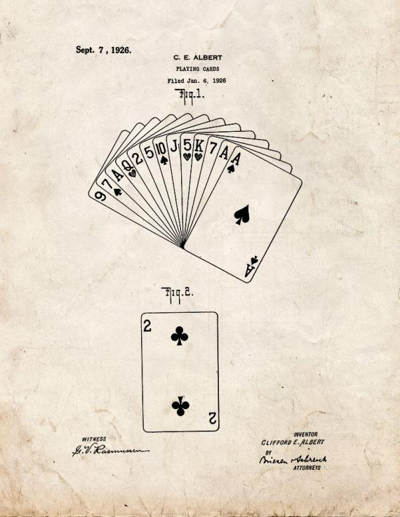 Playing Cards Patent Print