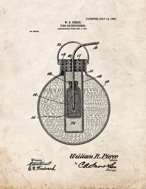 Fire Extinguisher Patent Print
