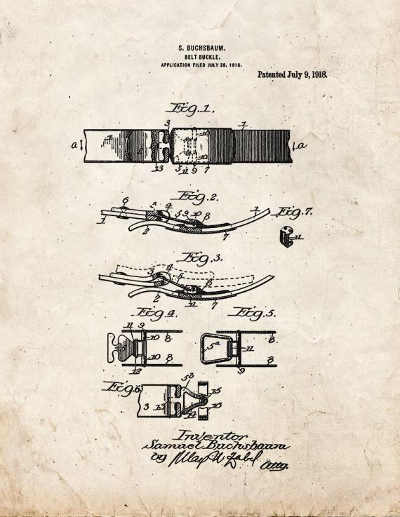 Belt Buckle Patent Print