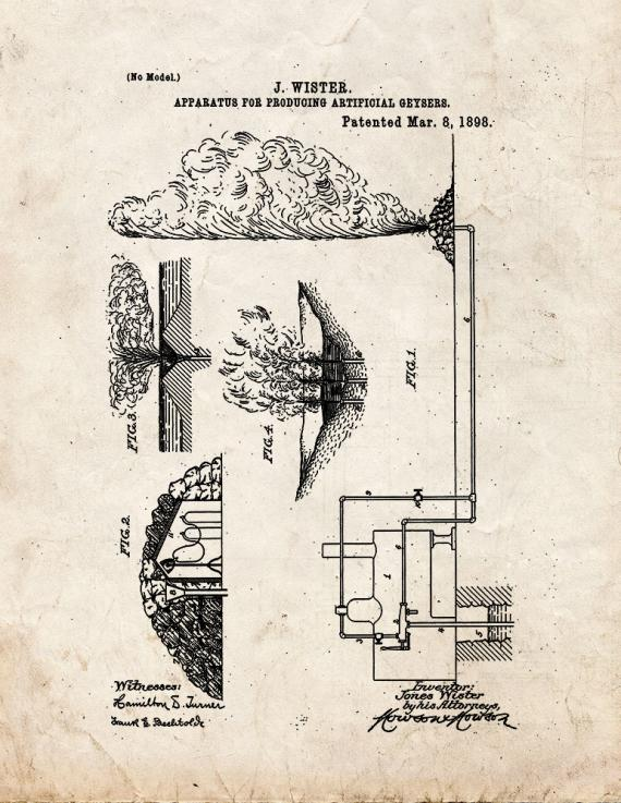 Apparatus For Producing Artificial Geysers Patent Print