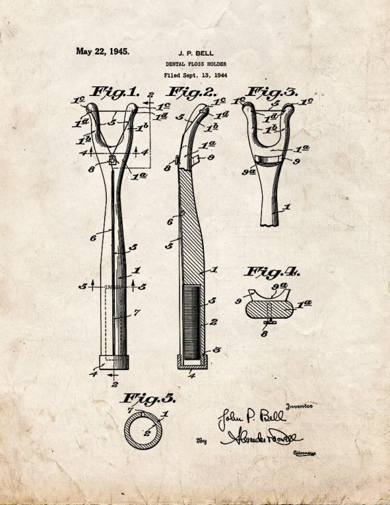 Dental Floss Holder Patent Print