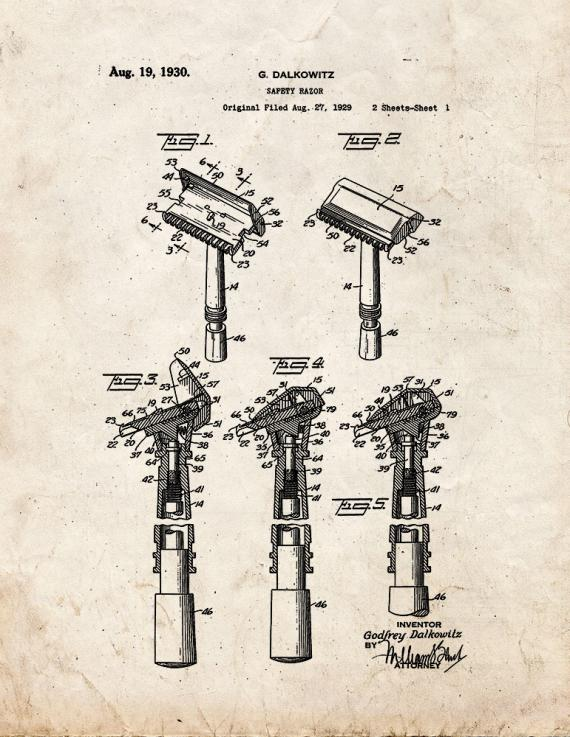 Safety Razor Patent Print