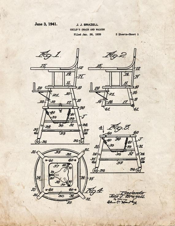 Child's Chair and Walker Patent Print