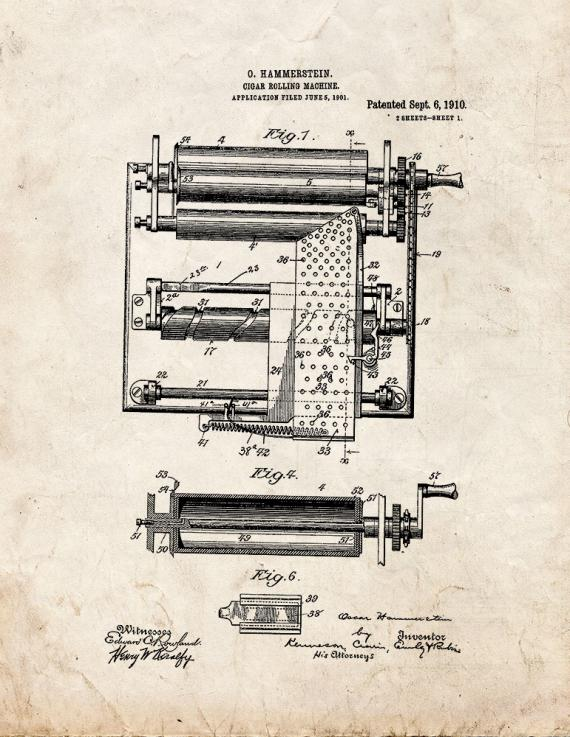 Cigar Rolling Machine Patent Print
