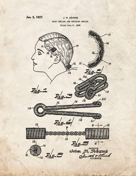 Hair Curling and Securing Device Patent Print