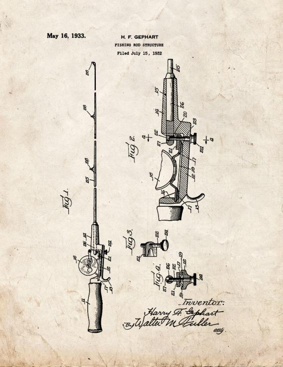 Fishing Rod Patent Print