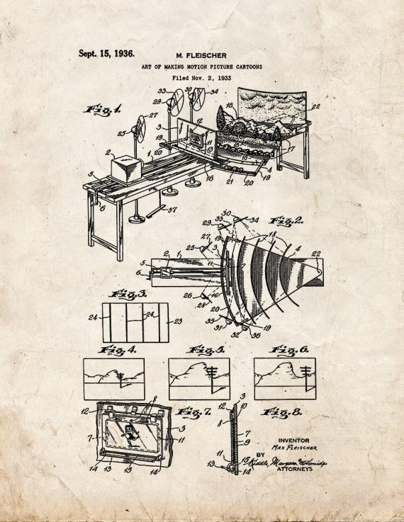 Art Of Making Motion Picture Cartoons Patent Print