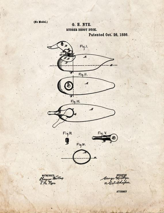 Decoy Duck Patent Print